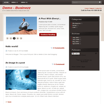 Businezz free blogger template convert from wordpress theme to blogger with content slidehow for business blog