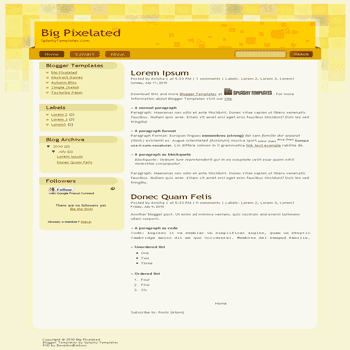 Big Pixelated free blogger template converted from psd to blogger template