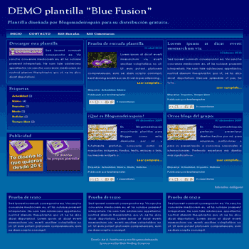 Blue Fusion free blogger template with 3 column footer Blogger Template