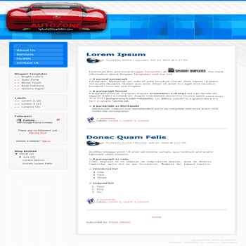 Auto Zone free blogger template for auto blogger template