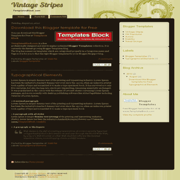 Vintage Stripes free blogger template converted from wordpress theme to blogger for classic style blogger template