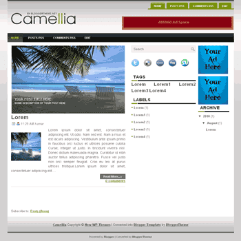 Camellia free blogger template convert wordpress theme to blogger template with image slideshow template