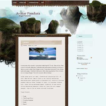 Avatar Pandora blogger template converted from PSD template to blogger template with Avatar movie background