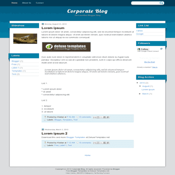 free blogger template Corporate Blog with 3 column blogger template
