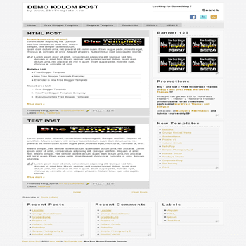 free blogger template Kolom Post with 3 column footer blogger template