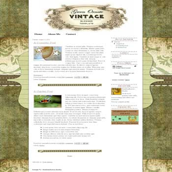 free blogger template Green Ornate Vintage with artistic background
