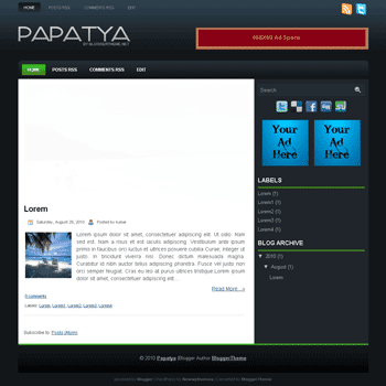 Papatya blogger template convert wordpress theme to blogger template with image slideshow blogger template