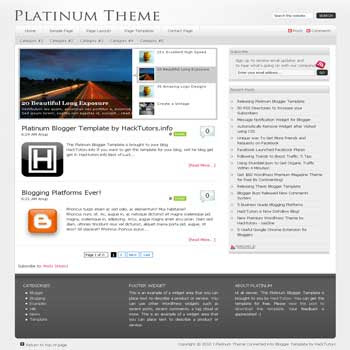 free Platinum blogger template converted from wordpress theme to blogger template with image slideshow and pagination for blogger ready
