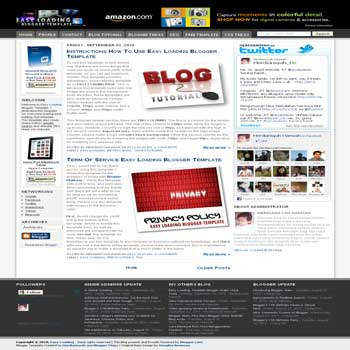 free blogger template Easy Loading with 3 column blogger template and 4 column footer template