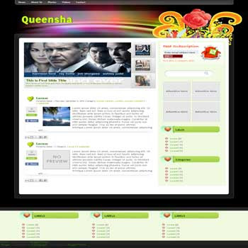 Queensha free blogger template convert wordpress theme to blogger template with feature content slideshow blogger template