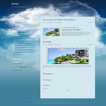 free Aria blogger template convert from wordpress theme to blogger template