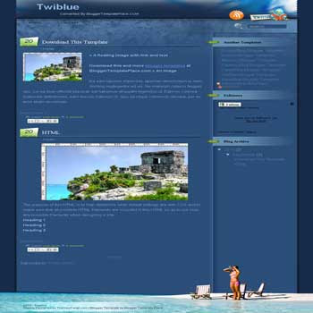 free Twi Blue blogger template convert from wordpress theme to blogger template