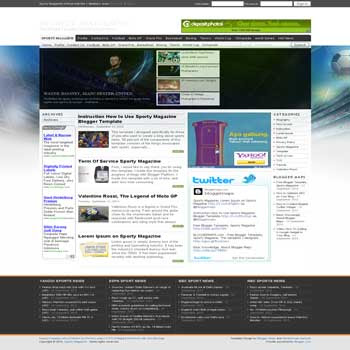 free sporty magazine blogger template with featured content template and 4 column fotter template