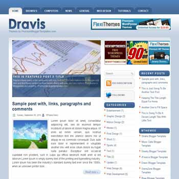 free blogger template Dravis blogger template with image slideshow template and pagination for blogger ready