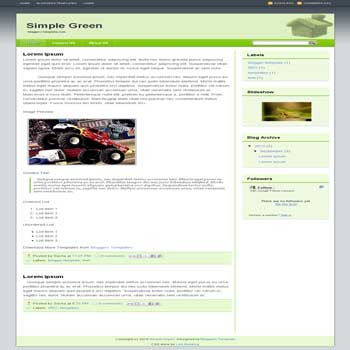 free simple green blogger template