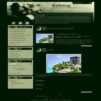 free Rythmag blogger template converted from wordpress theme to blogger template for music blog