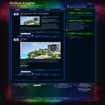 free Killer Light blogger template converted from wordpress theme to blogger template with 4 column footer blogger template