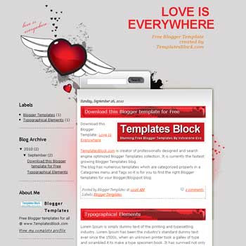 free Love Is Everywhere blogger template converted from wordpress theme to blogger with 2 column blogger template