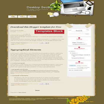 free Desktop Section blogger template converted from wordpress theme to blogger template