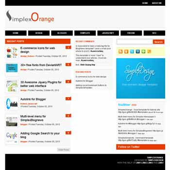 free Simplexorange blogger template with 3 column template blogger