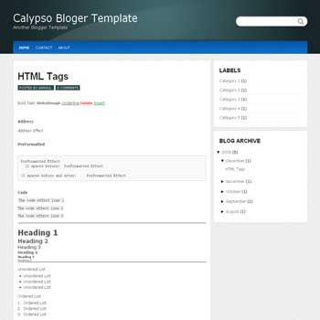 free Calypso blogger template converted from wordpress theme to blogger template with 4 column footer templates