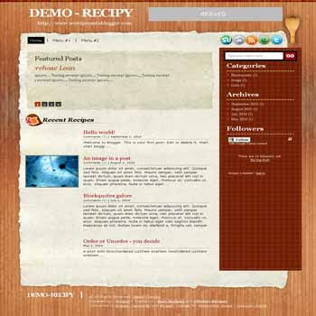 recipy blogger template convert from wordpress theme to blogger with featured content for recipy and cooking blog