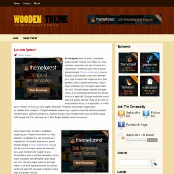 Wooden Theme blogger template with 3 column blogger template