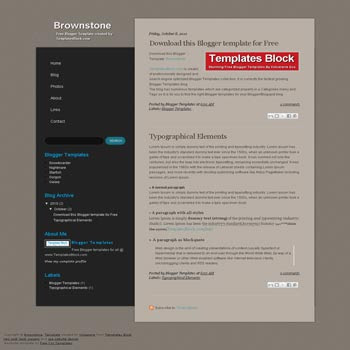 free Brownstone blogger template converted from css template to blogger template suitable for business template blog