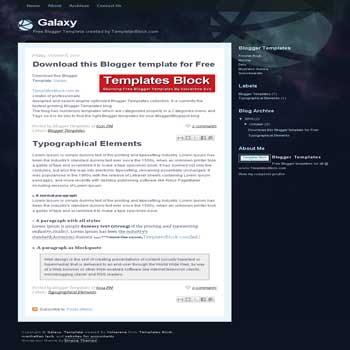 free Galaxy blogger template converted from css template to blogger template suitable tech related blog