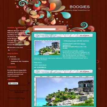 free Boogies blogger template converted from wordpress theme to blogger template with beautiful background blog template