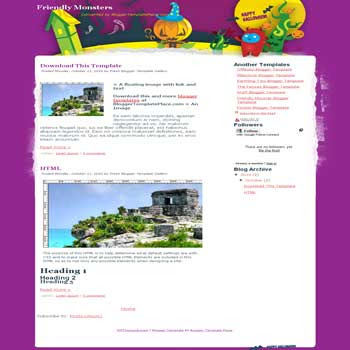 free Friendly Monster blogger template converted from wordpress theme to blogger template with beautiful background blog template