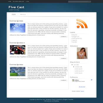 free Five Cast blogger template adapted from wordpress theme to blogger template