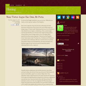 Hening blogger template with 2 column template