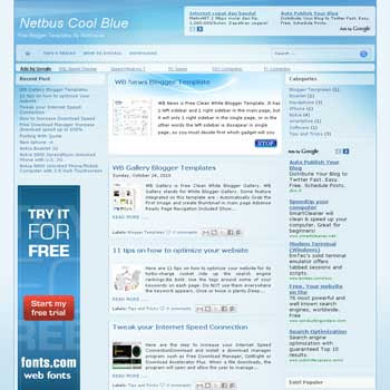 Cool Blue blogger template with 3 column magazine style blogger template. this template is ads ready template blog for blogspot template