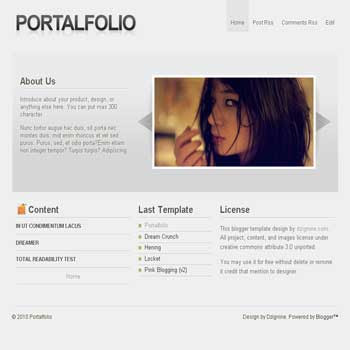 portalfolio blogger template with image slideshow template, 3 column footer template blog suitable for portfolio blog
