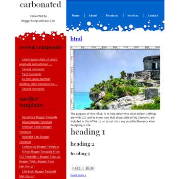 Carbonated blogger template converted from css template to blogger template with 2 column blogger template and clean blogger template