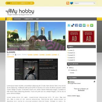 My Hobby blogger template convert wordpress theme to blogger template with image slideshow blogger template