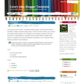 Colors Idea blogger template convert WordPress to Blogger template with 2 column blogger template