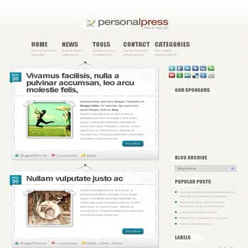 PersonalPress blogger template converted wordpress theme to blogger template with elegant blogger template for blogspot template blog