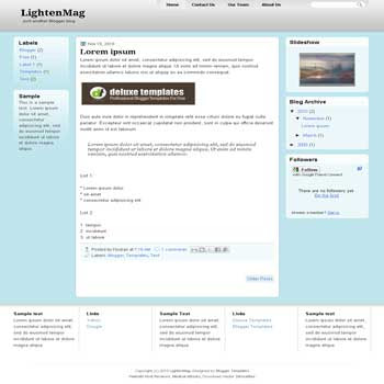LightenMag blogger template with 3 column blogger template. 3 column blogspot template. magazine style blogger template