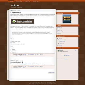 Arimo blogger template. elegant brown template blog
