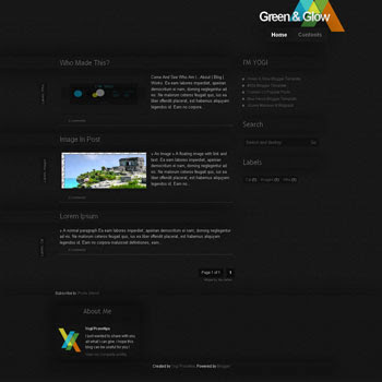 Green & Glow blogger template.Green & Glow blogspot template. blogspot template with 3 column footer