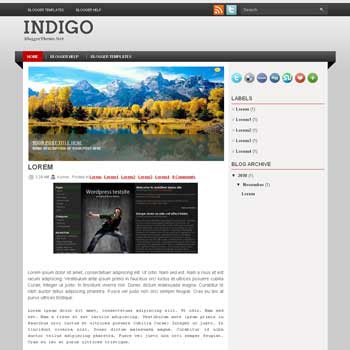 Indigo blogger template. image slideshow template blog. blogger template from wordpress theme. image slideshow template blog