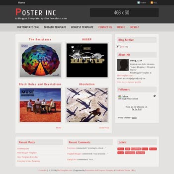 Poster Inc blogger template. gallery blogger template. photo blogger template. gallery blogspot template