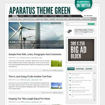 Aparatus Green blogger template. convert wordpress theme to blogger template. image slideshow blogger template. image slideshow blogspot template