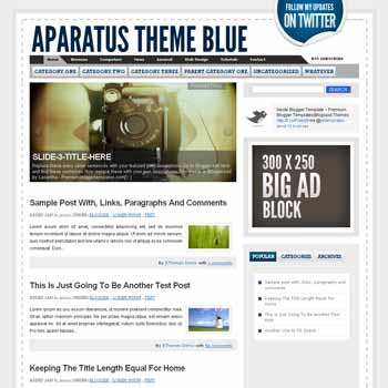 Aparatus Blue blogger template. convert wordpress theme to blogger template. image slideshow blogger template. image slideshow blogspot template