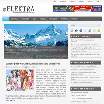 Elektra blogger template with image slideshow template and pagination for blogger ready