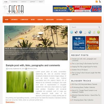 Fiesta blogger template with image slideshow template and pagination for blogger ready