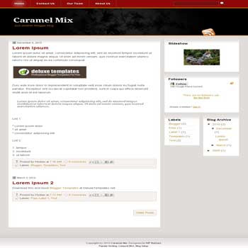 Caramel Mix blogger template with 3 column blogger template. 3 column blogspot template