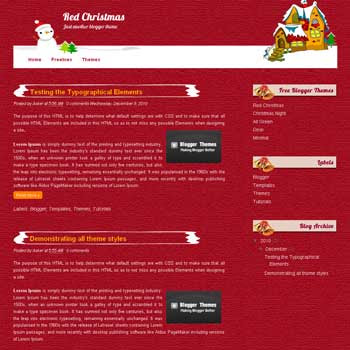 Red Christmas blogger template. blogger template converted from wordpress theme. blogspot template from wordpress theme